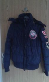Girls Bomber Jacket, Paul's Boutique, Black, Padded with hood, medium VGC would post