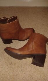 Brown leather ankle boots. Size 8. Only worn once.