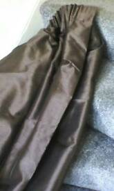 2 pairs brown lined curtains