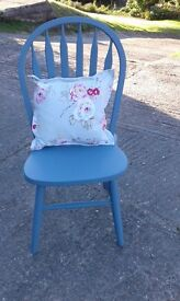 Very pretty large dining chair hand painted in blue with a vintage style cushion.