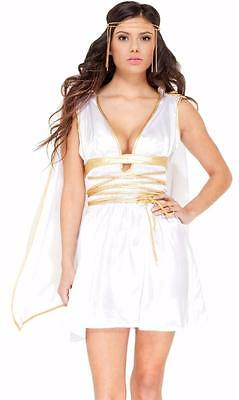 Toga Dress Costume (Goddess Costume Sleeveless Dress Cape Gold Headband Tunic Toga White)