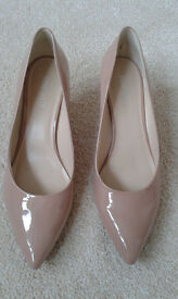 3) Nine West mid-low heel nude shoes
