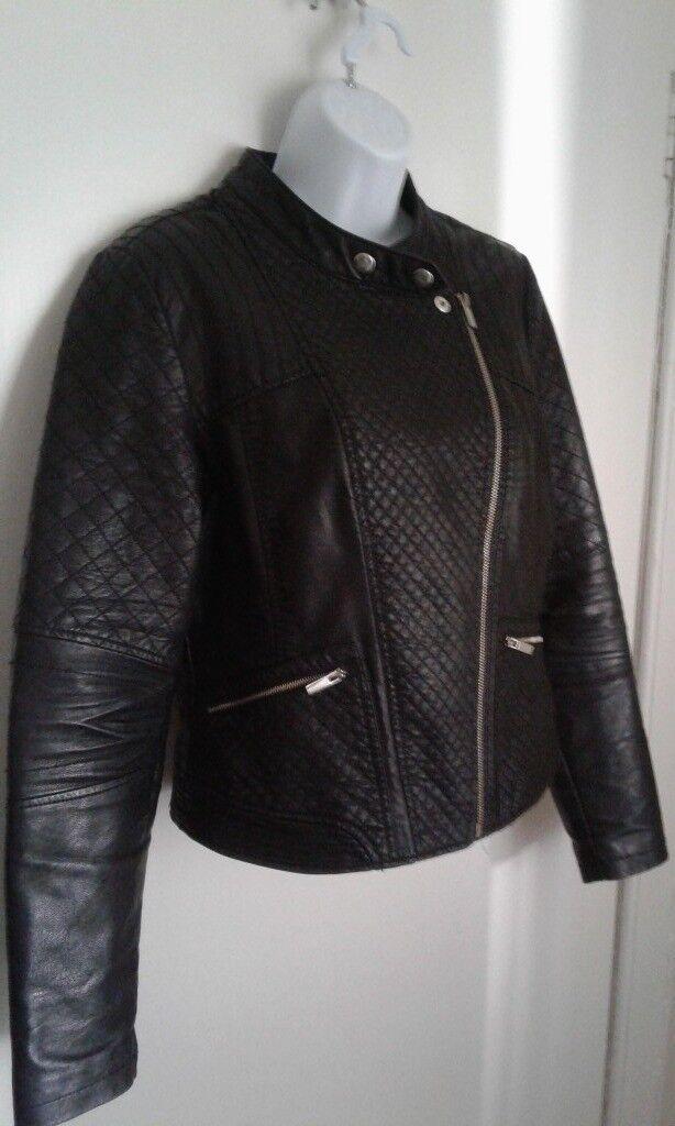 New Look Ladies Black Leather Biker Jacket Sz 14 In Dunfermline