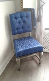 Vintage Antique upcycled reupholstered deep buttoned blue and grey chair on castors