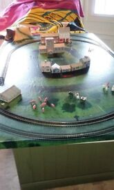 Hornby 00 Gauge Intercity Train Set Fixed Layout On Board With Some Buildings and Animals