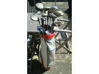 Slazanger golf club bag and approximately 20 various clubs
