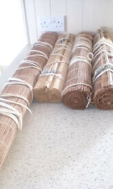 4 BAMBOO ROLLER BLINDS - used