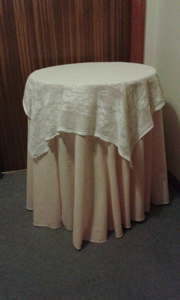 Round Circular Chipboard Side Table with Peach Floor Length Cloth and Lace Overcloth