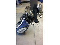 Full set Wilson Sam Snead golf clubs + 2 extra woods and decent Maxfli bag