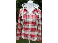 SUPERDRY Plaid Lumberjack shirt with detachable hood UK M