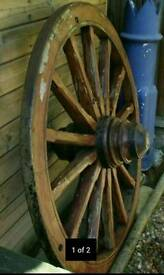 "48"" Dia Steel Banded Genuine Old Wooden Cart/Wagon Wheel"