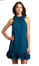 TED BAKER teal ruffle dress - size 0, uk 6-8