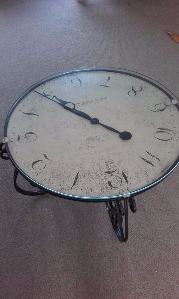 clock coffee table shabby chic wrought iron /glass   in stoke-on