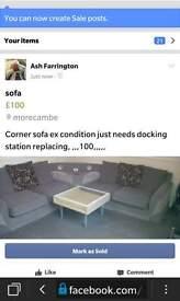 BARGAIN Corner sofa with speakers