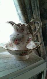Vintage wash basin and jug