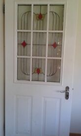 External door with stained glass window
