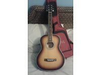 3/4 acoustic guitar with new strings and low action,