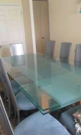 One of a kind glass extendable table