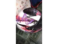Very good condition boots size 6, Jacket 12,Helmet small to medium,buttoms 12