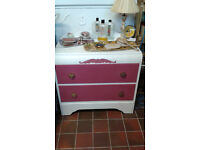 Vintage distressed painted drawers. Painted in white and dolcivita pink with annie sloan wax