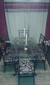 Glass Top Table with 6 Chairs (Iron work)