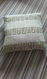"""Extra large floor cushion with cover. The cover is in Greek Key design in gold colour 25"""" X 25"""""""