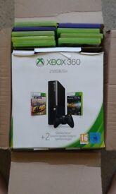 XBOX360 250GB / GO with 9 games including SKYRIM V wifi controller etc IN BOX