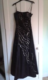 Black ball gown/ prom dress, size 8/ small, silver sequins, lace effect back