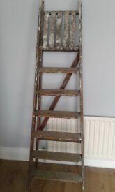 Vintage midcentury 6 tread wooden ladders