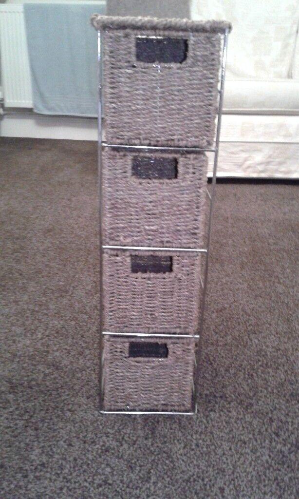 Wicker Storage Drawer Tower