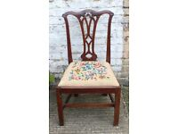 Antique Edwardian Chippendale Style Mahogany Carved Back Dining Chair UK Delivery