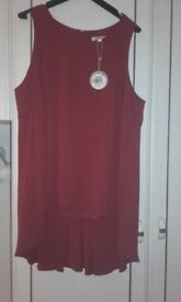 New look wine colour top with tags on
