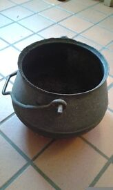 "Old 9"" iron cauldron with handle coal holder? Halloween!"