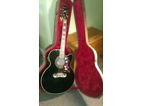 Beautiful Black Epiphone Jumbo Guitar with awesome Imported Case £290 ono