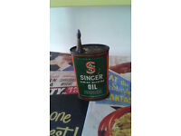 Vintage Singer Sewing machine oil can tin with original top