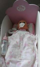 Baby annabel doll & cradle
