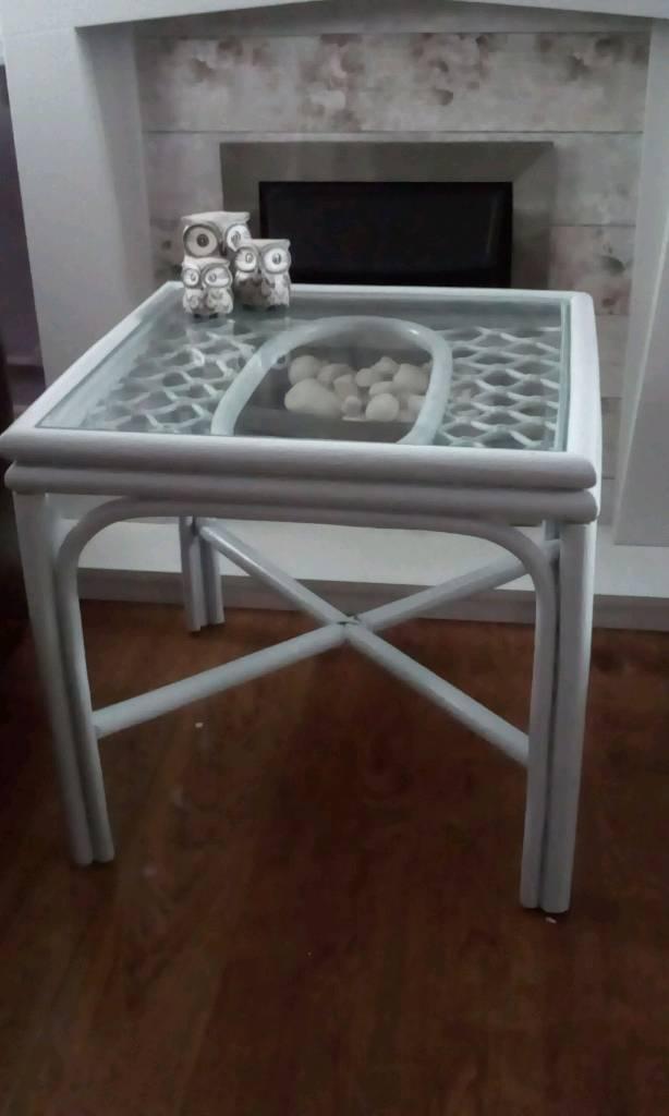 Blue/Grey cane table.