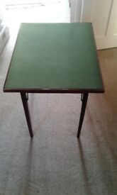 Retro Folding Card Table with Green Baize Top