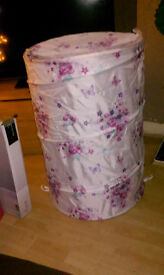 Gorgeous Butterfly Large Linen Basket Girl's Bedroom Pop Up, Unused