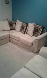 Cream cloth sofa for sale two-seater and three seater and footstool