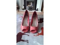 Peach patent shoes for sale.