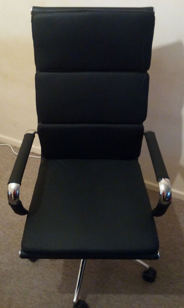 Brand New Never used Leather and Metal Full Size Office Chair. Unwanted Gift. MSRP: £300