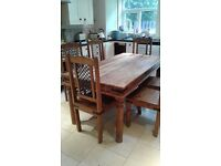 Wooden Dining Table and Chairs and Wooden Dresser