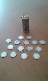 Vintage bank in including 15 silver threepences