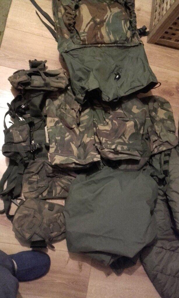 Army surplus......burgan,kit bag,helmet,webbing ,uniformclothing