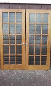 2 x 15 PANE INTERIOR HARDWOOD DOORS