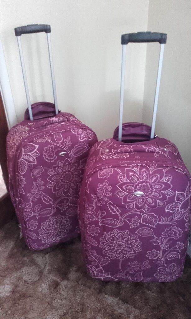 Pair of Large Marks & Spencer Plum Colour Holiday Suitcases Travel Key