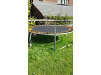 Trampoline 8 foot, with poles, needs new net