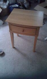 Solid oak bedside or end tables x 2