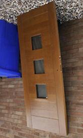 Prefinished Turin External Oak Door, Obscure Double Glazing